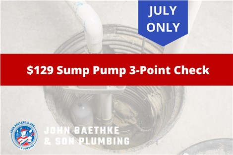 July ONLY! $129 Sump Pump 3-Point Check
