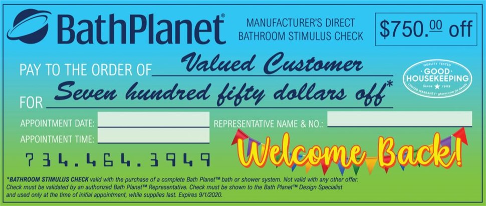 Receive a $750 Stimulus Check With Your Next Bath Project!