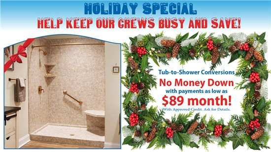 Tub-to-Shower Conversions now as low as $89 per month!