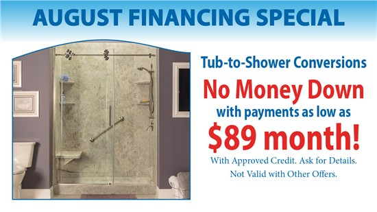 Tub-to-Shower Conversions with NO Money Down and as low as $89 per month