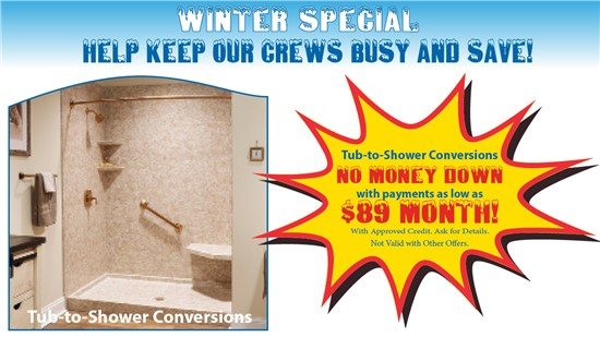 Tub-to-Shower Conversions as low as $89 per month!