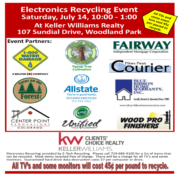Excited to Sponsor 2018 KW Clients' Choice-Woodland Park E-Recycling Event