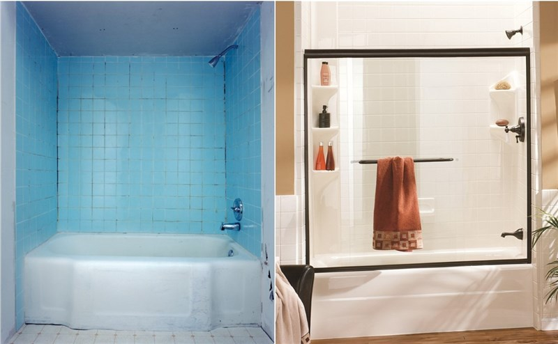before and after bathroom remodel by charleston bath experts