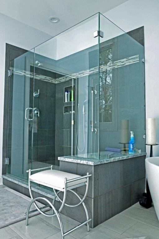 master bath remodel with glass shower