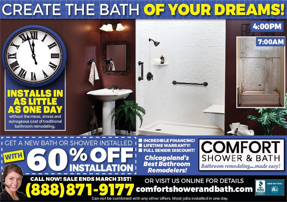 Get 60% Off Your New Bath Installation!
