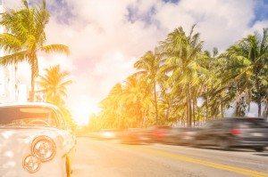 sun shining on miami beach street