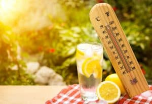 thermometer on hot day