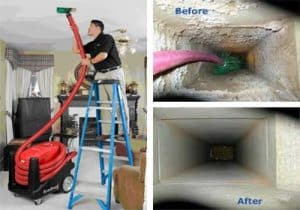 man cleaning out air duct with vacuum
