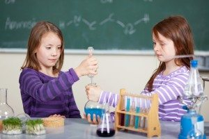 girls doing a science project