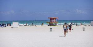 sunny day on beach in miami beach
