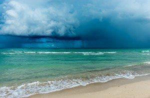 storm clouds over ocean