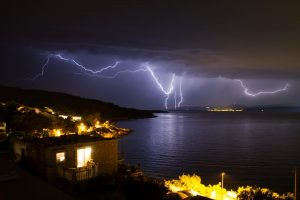 lightning strike over water
