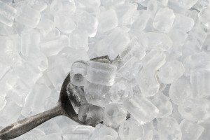 ice in an ice bucket