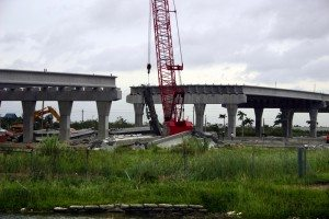 Damage by hurricane Katrina: An overpass under construction collapsed Thursday, Aug. 25, 2005, in Miami Florida.