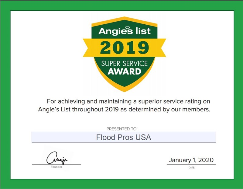 Flood Pros USA Earns 2019 Angie's List Super Service Award