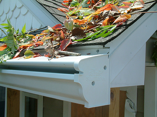 clogged gutters, fall leaves