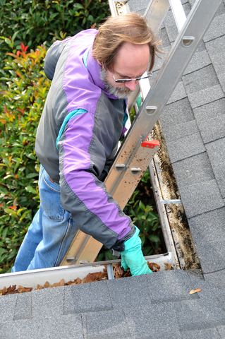 clogged gutters, gutters and debris, cleaning gutters,