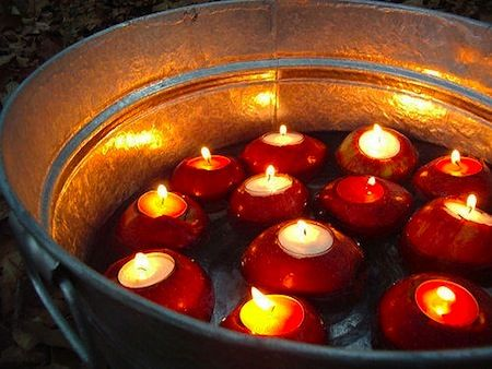 Go one decorating step forward and hollow out apples to place your tea lights in!