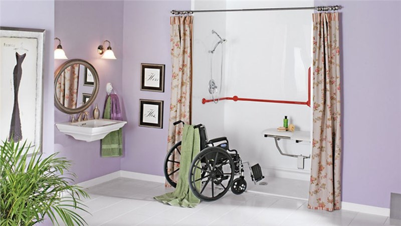 wheelchair positioned for roll-in shower by luxury bath of texoma