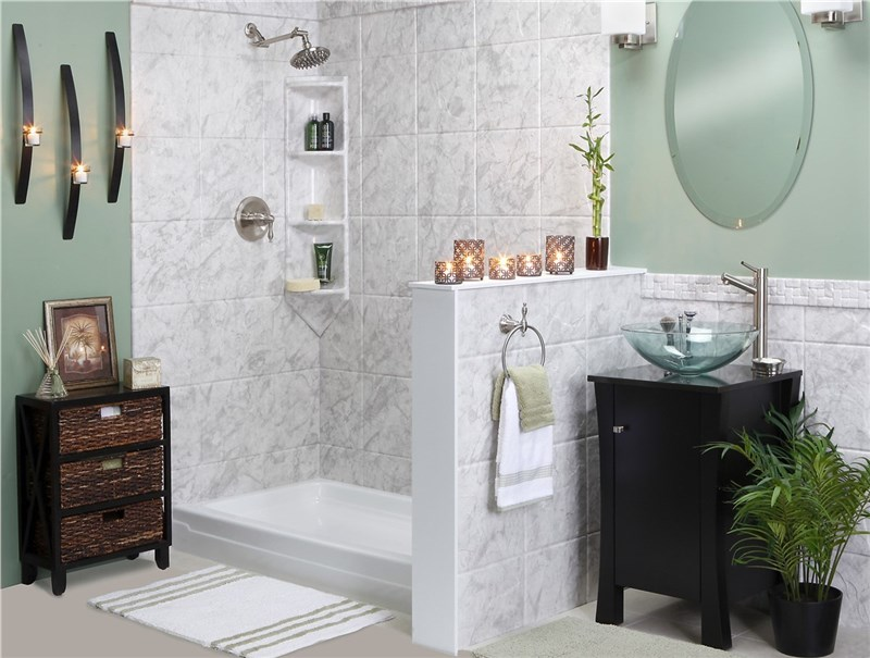replaced tub with open shower
