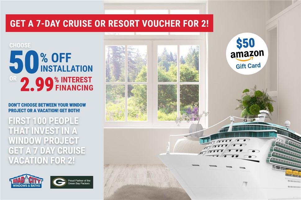 GET A 7-DAY CRUISE OR RESORT VACATION FOR 2!