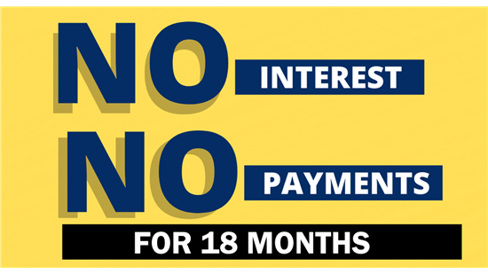 Get 25% Off with No Interest and No Payments for 18 Months