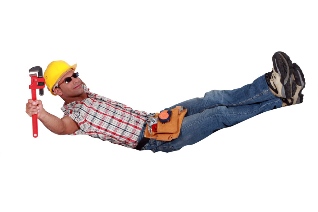 Lazy contractor laying down