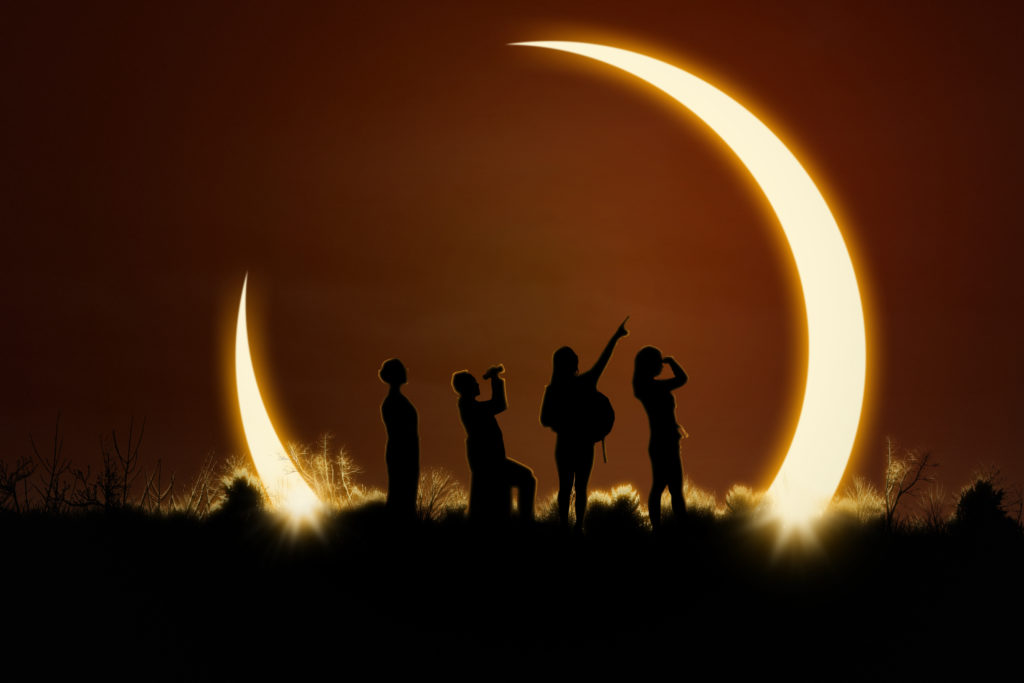People viewing the solar eclipse