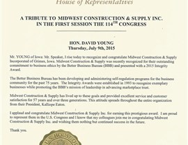 Congressman Letters & Senators Letters to Midwest Construction Photo 1