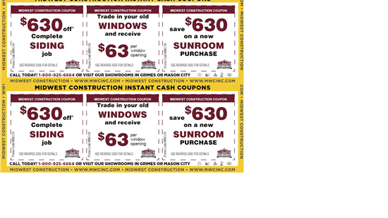 New Siding Instant Cash Coupon