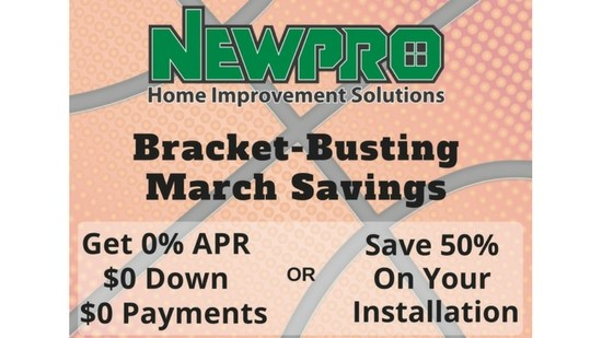 March Bracket Buster Savings - 50% Off Installation on Roofing, Siding, and Baths
