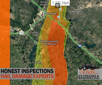 NMC is Inspecting Hail Damage in Burnsville, Prior Lake & Savage MN