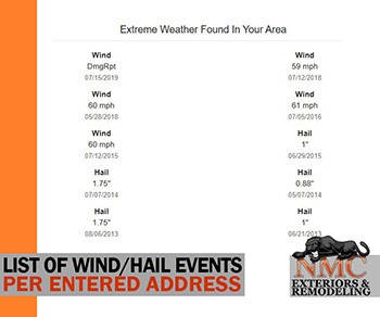 Free Storm-Date List from NMC; Quick Online Report of Your Location's Extreme Weather History