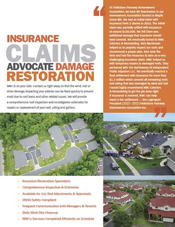 NMC is your Advocate in Damage Restoration (Insurance Claim Build-Back Process)