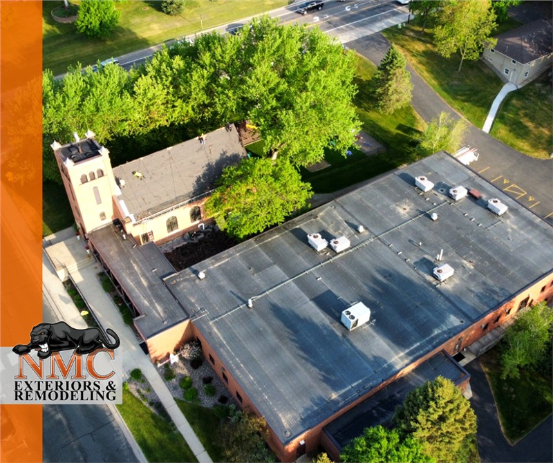 Rooftop view of St. Pauls Lutheran Church in Hanover, Minnesota