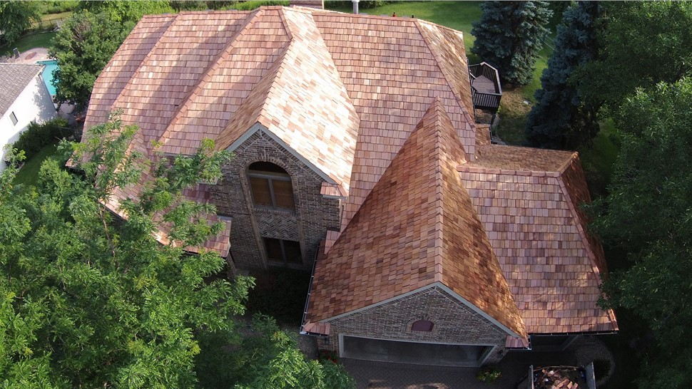 NMC replaces roof in Eden Prairie using Cedar Shake
