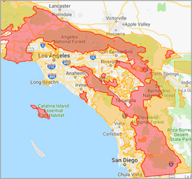 High-Risk Wildfire Zone Map of California