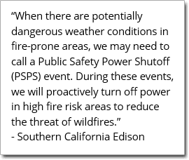 Public Safety Power Shutoff PSPS notice for SoCal Edison