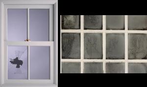 Broken Foggy Window Glass Pane
