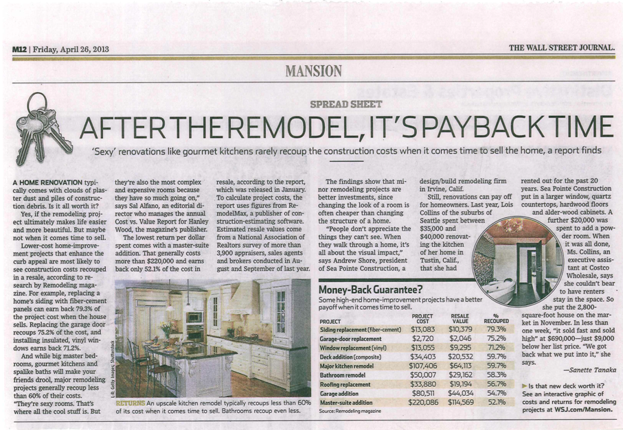 Wall Street Journal Remodeling Cost vs Value