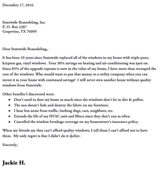 Customer Thank You Letter - Statewide Remodeling Blog