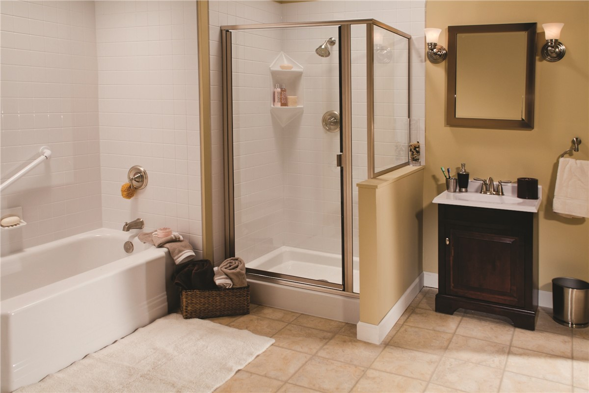 The bath company offers one day installs for shower remodels for Bath remodel one day