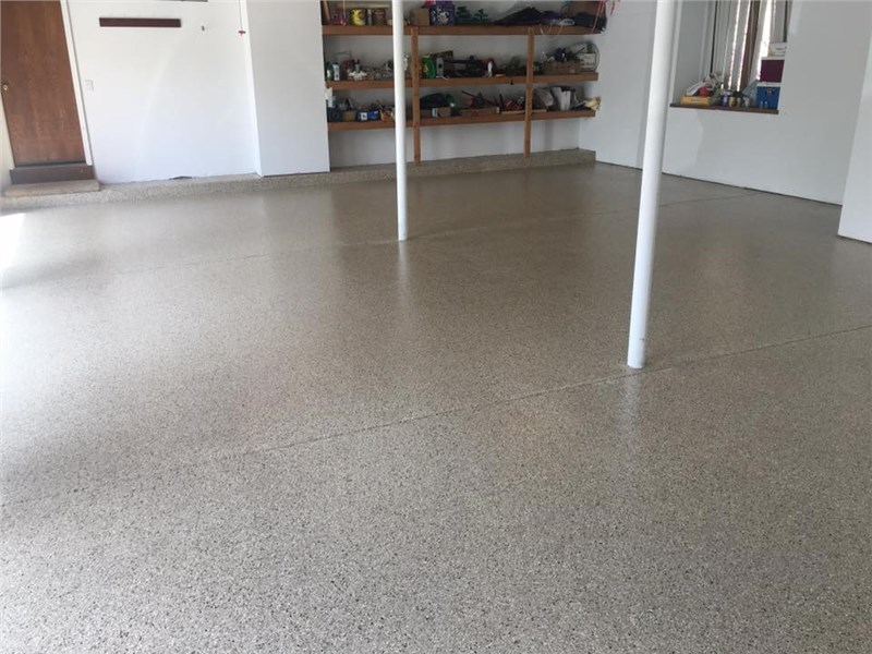 Basement With Epoxy Concrete Floor Coating