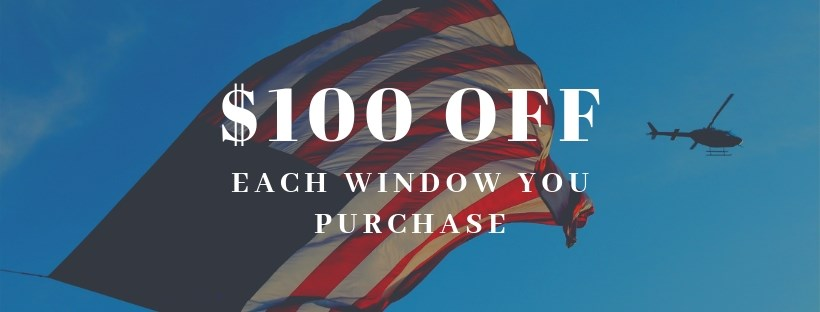 $100 OFF each window, this month only!